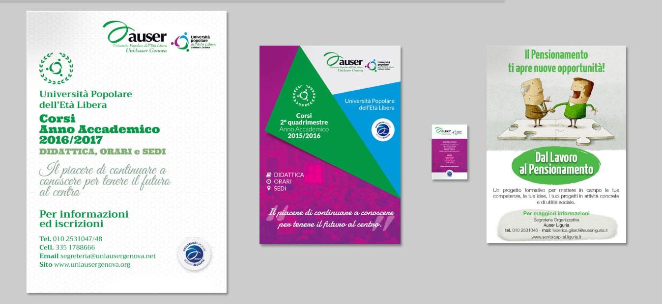 Materiale di comunicazione per UniAuser Genova