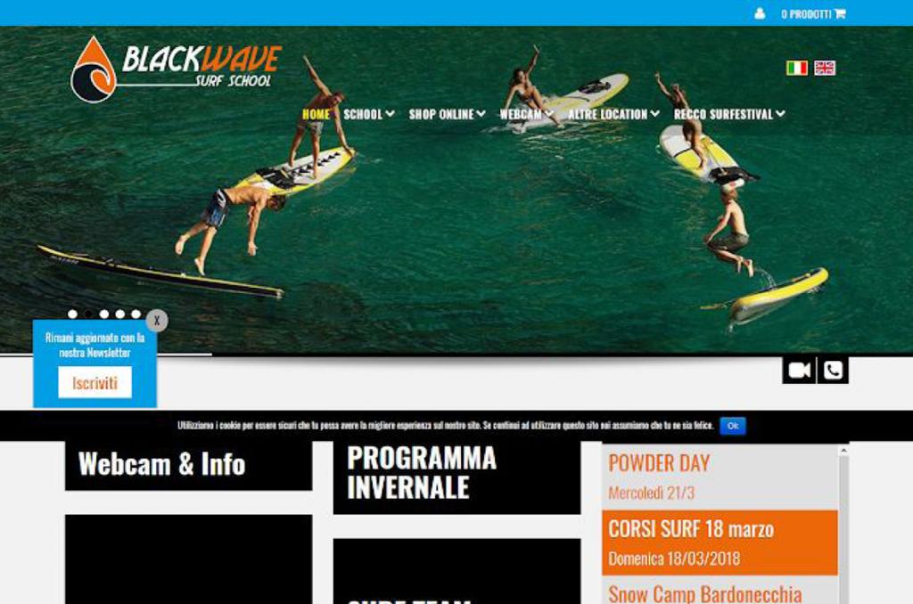 Vecchia hompage del sito blackwave.it