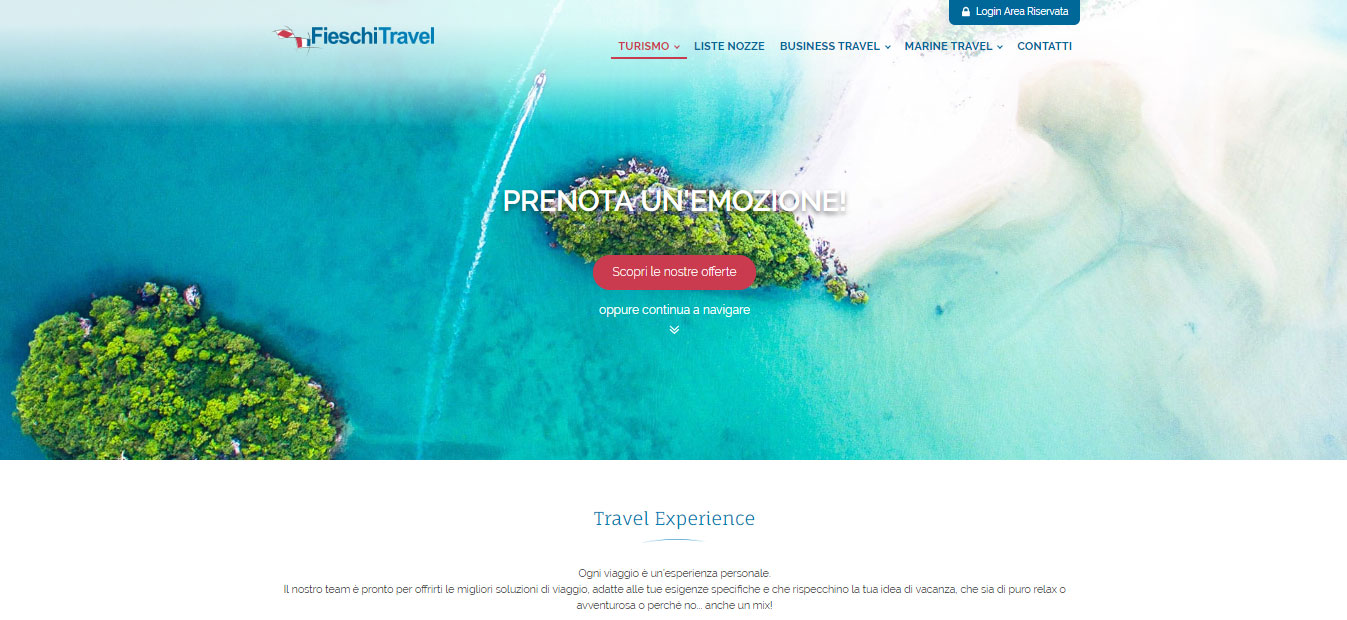 Hompage del sito fieschitravel.it